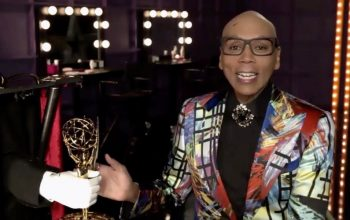 RuPaul receives the Emmy for RuPaul's Drag Race from a fake hand that extended from a box that'd been delivered to him.