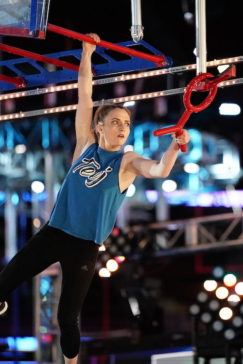 Taylor Johnson on the new American Ninja Warrior qualifying obstacle Ring Chaser. Like many contestants, she missed the ring that rolled alongside the bars, and now has to use a smaller ring to jump from peg to peg