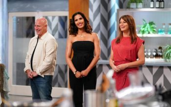 Top Chef judges Tom Colicchio, Padma Lakshmi, and Gail Simmons at the start of season 17. Top Chef season 18 is filming now
