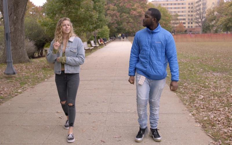 Alexa Paulay-Simmons and Daequan Taylor having a conversation on Deaf U