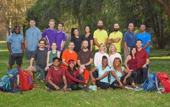 The Amazing Race 32's teams. Top row, left to right: DeAngelo Williams and Gary Barnidge, Will Jardell and James Wallington, Michelle and Victoria Newland, Maddison and Riley McKibbin, Jerry and Frank Eaves. Middle row, left to right: Leo Brown and Alana Folsom, Nathan Worthington and Cody Buell, Kaylynn and Haley Williams, Hung Nguyen and Chee Lee; Bottom row, left to right: Eswar and Aparna Dhinakaran, Kellie Brinkley and LaVonne Idlette