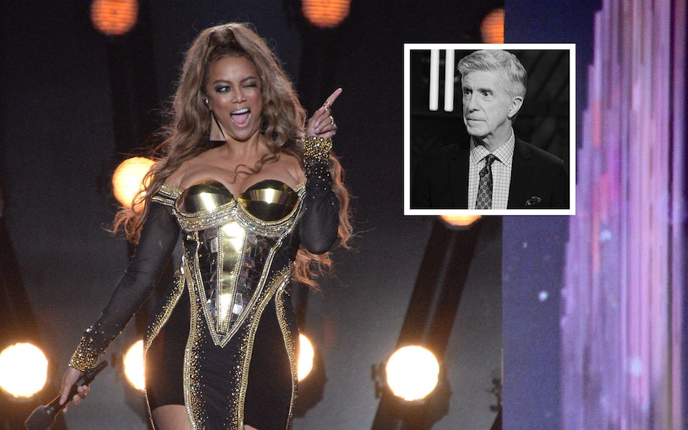 Dancing with the Stars host Tyra Banks and former host Tom Bergeron