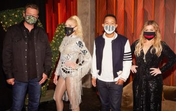 The Voice season 19's coaches, all wearing masks to help protect other people: Blake Shelton, Gwen Stefani, John Legend, and Kelly Clarkson