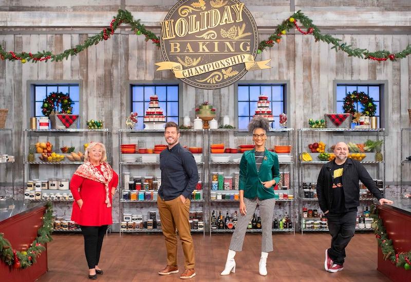 Holiday Baking Championship season 7 judge Nancy Fuller, host Jesse Palmer, and judges Carla Hall and Duff Goldman
