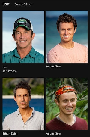An image from CBS.com's page for the Survivor Millennials vs. Gen X cast members, who include eventual winner Adam Klein, Ethan Zohn, and Adam Klein?!