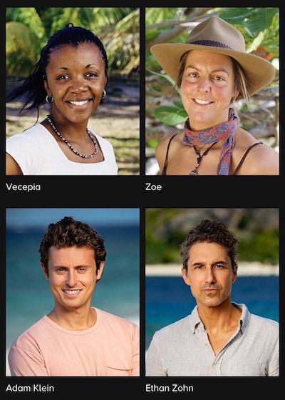 CBS.com's Survivor Marquesas cast page shows Vecepia Towery, Zoe Zanidakis—and Adam Klein and Ethan Zohn!