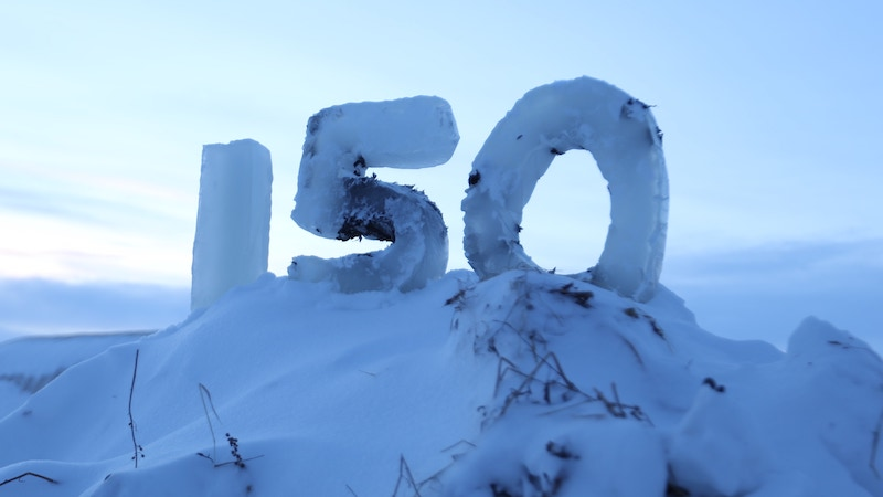 An ice sculpture for Life Below Zero's 150th episode at Sue Aikens' Kavik River Camp, Alaska
