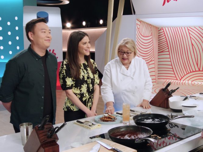 Best Leftovers Ever! judge David So, judge/host Jackie Tohn, and judge Rosemary Shrager talk to a contestant during episode 7