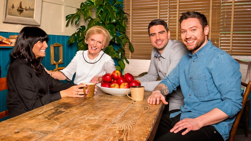 Britain's Best Home Cook host Claudia Winkleman with judges Mary Berry, Chris Bavin, and Dan Doherty