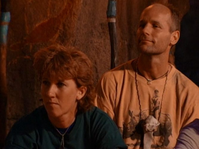 Debb Eaton and Michael Skupin at Survivor: The Australian Outback's first Tribal Council