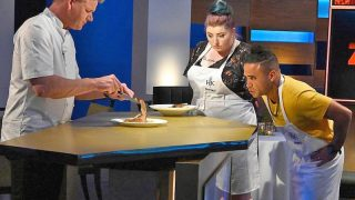 Gordon Ramsay samples contestant Brittani Ratcliff and Marc Quinones' food in the first challenge of Hell's Kitchen season 19