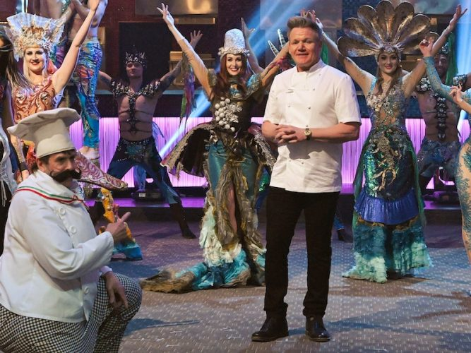 Gordon Ramsay greets contestants on the Las Vegas set of Hell's Kitchen 19