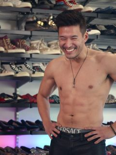 In Bling Empire's first episode, Kevin Kreider tries on his friend Kane Lim's clothes