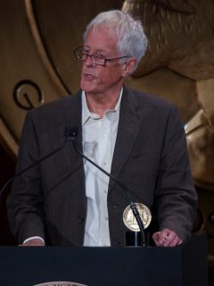 Michael Apted accepts the 2012 Peabody Award for his Up documentary series on May 20, 2013