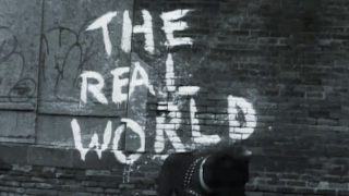The Real World's logo, as seen in the opening credits of season 1, episode 1
