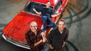 New Top Gear America hosts Rob Corddry, Dax Shepard, and Jethro Bovingdon (top)