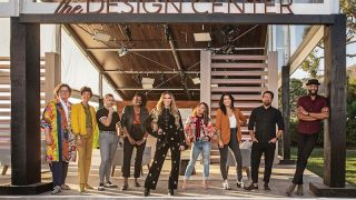 "Design Star: Next Gen contestants (from left to right) Chris Goddard, Marisa Molinaro, Anthony ""Tony"" Allgeier, Carmeon Hamilton, host Allison Holker Boss, Peti Lau, Arianna Danielson, Eli Hariton, and Justin Q. Williams (Photo by Discovery+)"