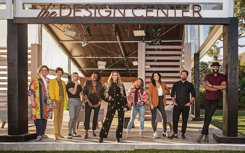 "Design Star: Next Gen contestants (from left to right) Chris Goddard, Marisa Molinaro, Anthony ""Tony"" Allgeier, Carmeon Hamilton, host Allison Holker Boss, Peti Lau, Arianna Danielson, Eli Hariton, and Justin Q. Williams (Photo by Discovery+)"