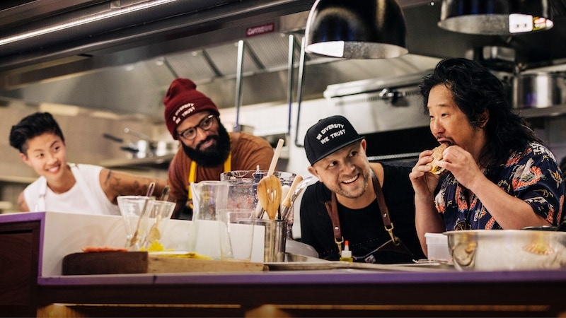 Fast Foodies stars Kristen Kish, Justin Sutherland, and Jeremy Ford, with guest Bobby Lee
