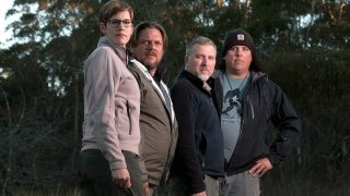 """Finding Bigfoot cast members Ranae Holland, Matt Moneymaker, Cliff Barackman and James """"Bobo"""" Fay, photographed while filming in Australia's Blue Mountains on May 22 , 2012"""