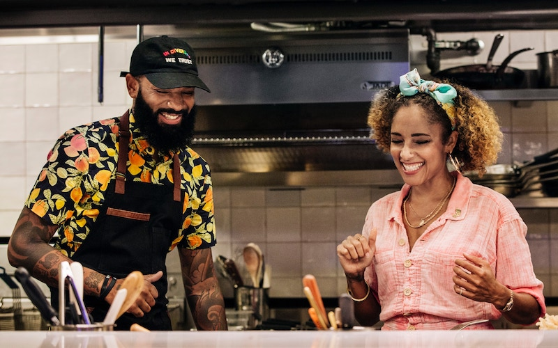 Iron Chef winner and Top Chef Kentucky contestant Justin Sutherland with Amanda Seales on Fast Foodies