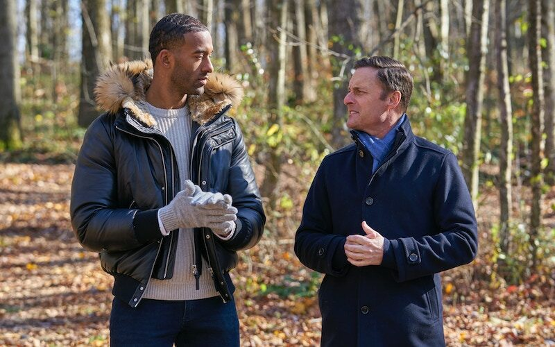 Matt James and Chris Harrison in Farmington, Penn., during The Bachelor season 25, episode 7.