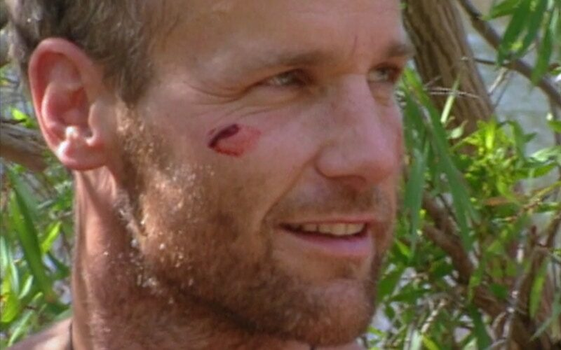 Michael Skupin after smearing pig blood on his face during Survivor: The Australian Outback episode 4