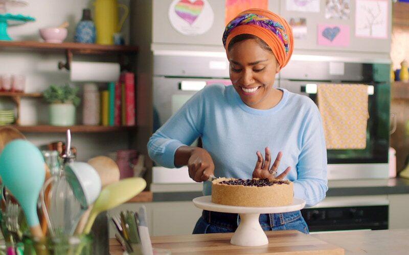 "Nadiya Hussain in the ""Indulgent Desserts"" episode of Nadiya Bakes"