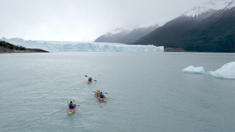 On National Geographic Channel's Race to the Center of the Earth, Team South America paddles toward the Perito Moreno Glacier in Argentina
