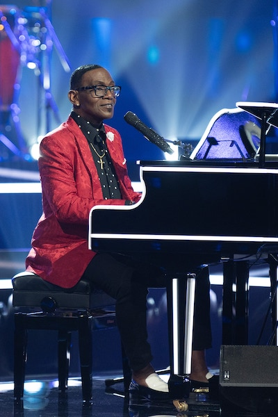 Name That Tune band leader Randy Jackson at the piano during the season premiere