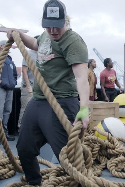 Tara Alverson competes in the first Tough As Nails elimination challenge with an injured hand