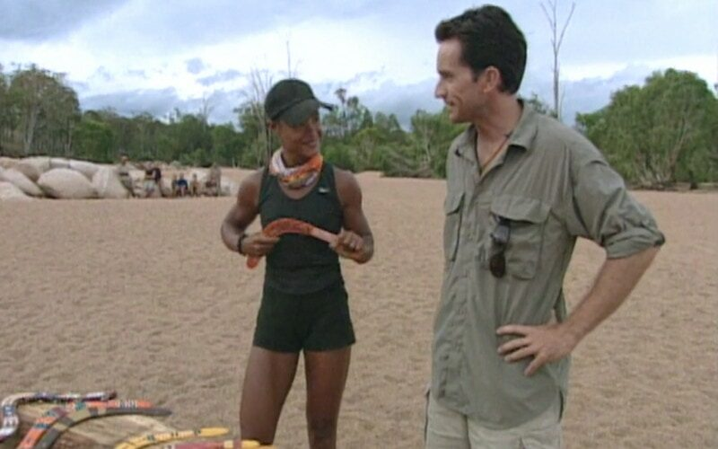 Alicia Calaway and Jeff Probst during the Survivor: The Australian Outback episode 8 immunity challenge
