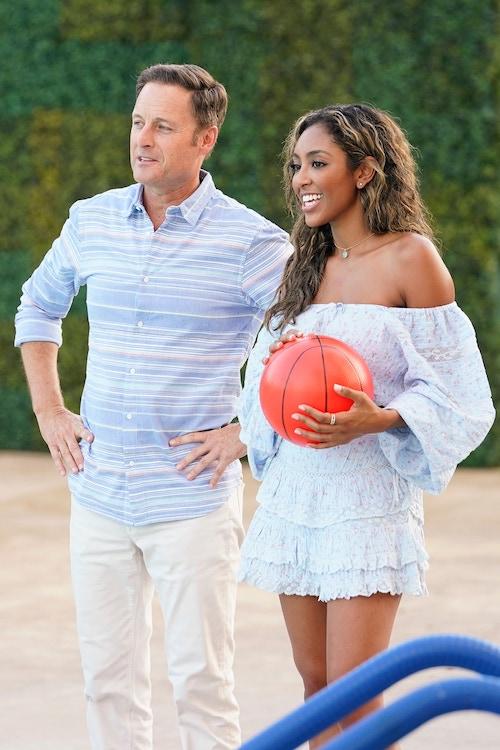 Chris Harrison and Tayshia Adams on The Bachelorette 16