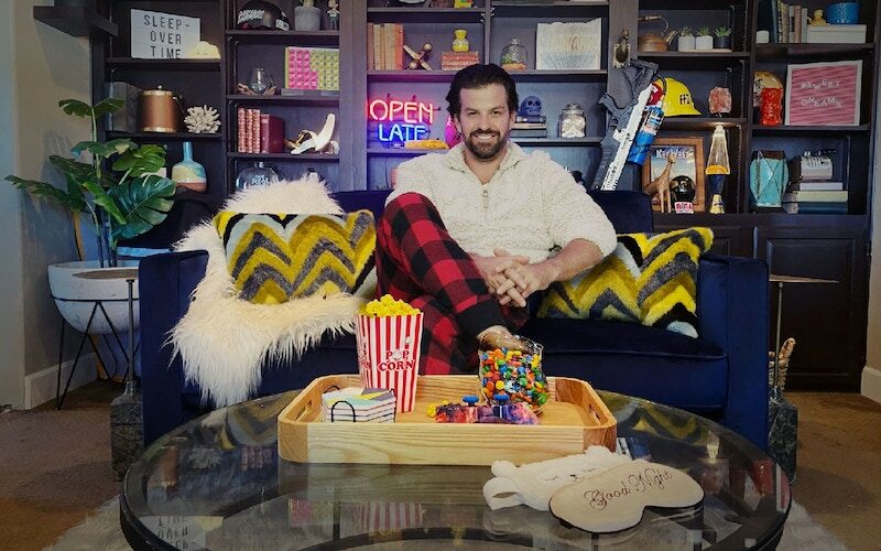Johnny Bananas on the set of Celebrity Sleepover, which is also his living room