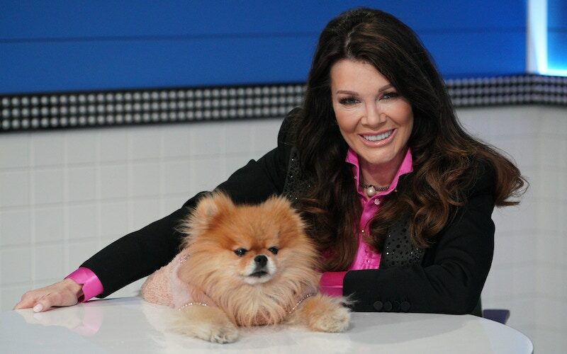 Pooch Perfect judge Lisa Vanderpump with with what I assume is a dog