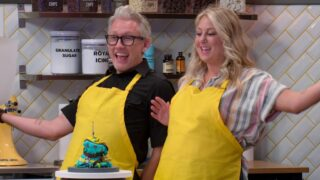 Nailed It: Double Trouble contestants Richard Harris and Sarah Bier unveil one of their creations