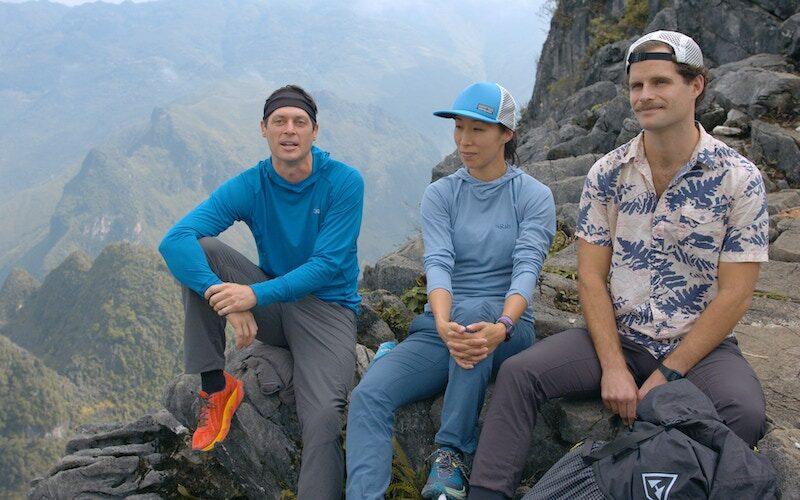 Team Southeast Asia—James Batey, Marilina Kim, and Jay Wyatt—during an interview before near Mã Pí Lèng Pass in Vietnam