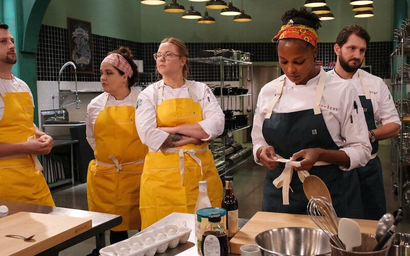 There's no physical distancing among Top Chef Portland contestants Gabriel Pascuzzi, Maria Mazon, Brittanny Anderson, Dawn Burrell, and Gabe Erales