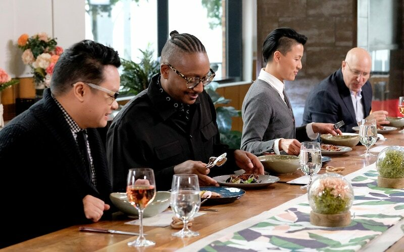 Dale Talde, Gregory Gourdet, Melissa King, and Tom Colicchio judge the first challenge without knowing which chef cooked what dish.