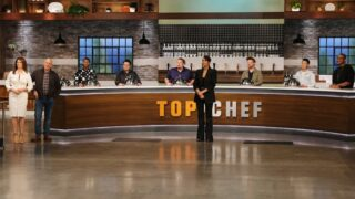 Some of these Top Chef Portland judges are not distanced like the others! From left to right: Gail Simmons, Tom Colicchio, Kwame Onwuachi, Dale Talde, Amar Santana, Padma Lakshmi, Richard Blais, Melissa King, and Gregory Gourdet