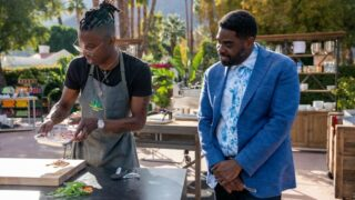 Chopped 420 host Ron Funches, right, watches contestant and chef Solomon Johnson cooking with ingredients that include cannabis.