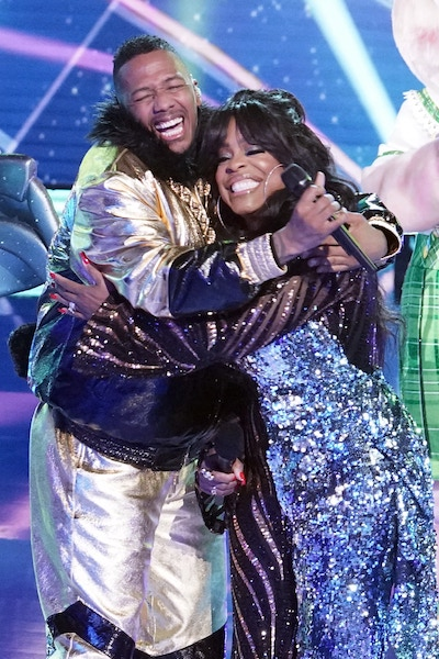 Nick Cannon and Niecy Nash after he was revealed to be the Bulldog on The Masked Singer season 5