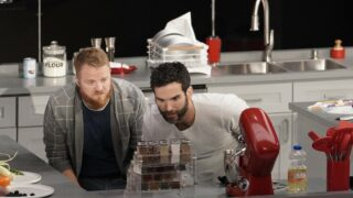 Anthony and Nate on Crime Scene Kitchen. I imagine they're whispering, I don't see a crime scene here, do you? Shh, I think we're supposed to pretend!