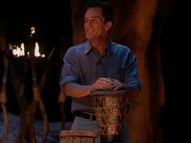 Jeff Probst on Survivor: The Australian Outback finale after he arrived at CBS Television City by helicopter with the voting urn