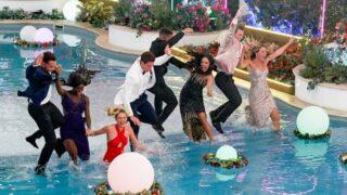 Love Island season 3 will premiere the same night as BB23. Here, Love Island season 2's finalists—Caleb Corprew, Justine Ndiba, Laurel Goldman, Carrington Rodriguez, Johnny Middlebrooks, Cely Vazquez, Calvin Cobb and Moira Tuma—jump into the pool during the season 2 finale