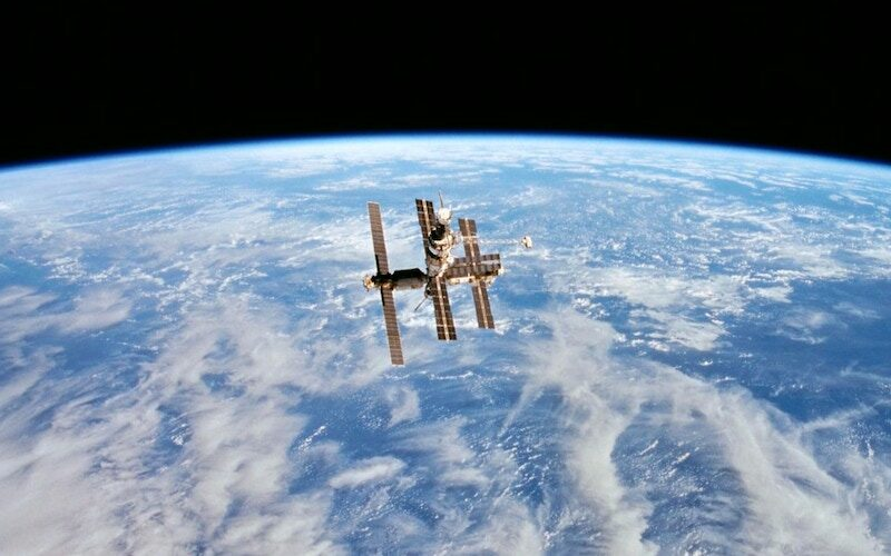 Russia's Mir space station, photographed from the Space Shuttle Discovery on Feb. 6, 1995