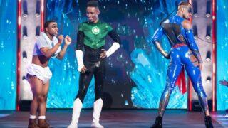 Legendary host Dashaun Wesley (center) with contestants Shorty Ebony and Jamari Balmain during episode 7,