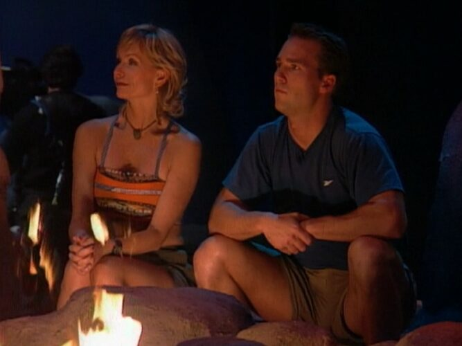 Tina Wesson and Colby Donaldson at the live Survivor: The Australian Outback finale and reunion