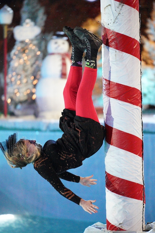 Elizabeth Johnson bounces off of part of Ho Ho Hole, the hole formerly known as Polcano