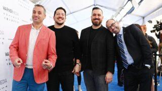 Impractical Jokers Joe Gatto, Sal Vulcano, Brian Quinn, and James Murray at the WarnerMedia Upfront in 2019